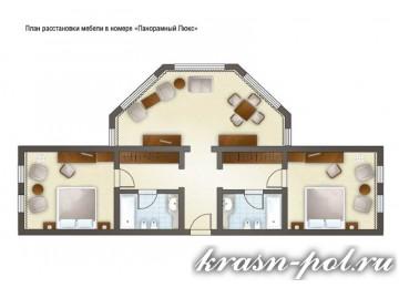 Отель «Гранд-отель Поляна» 4-местный 3-комнатный панорамный люкс